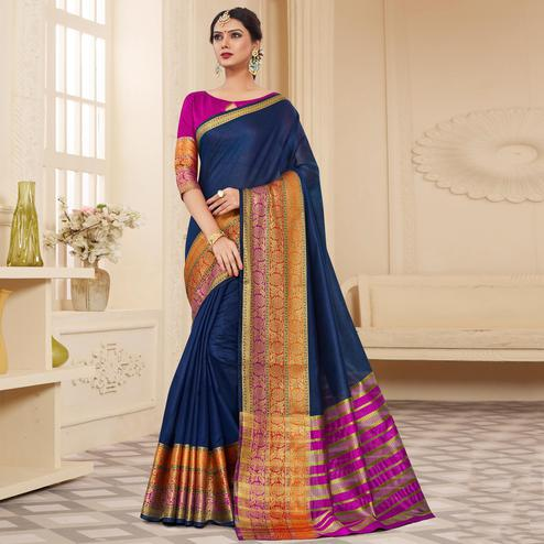 Impressive Navy Blue Colored Festive Wear Woven Cotton Silk Saree