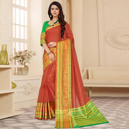 Adorning Light Red Colored Festive Wear Woven Cotton Silk Saree