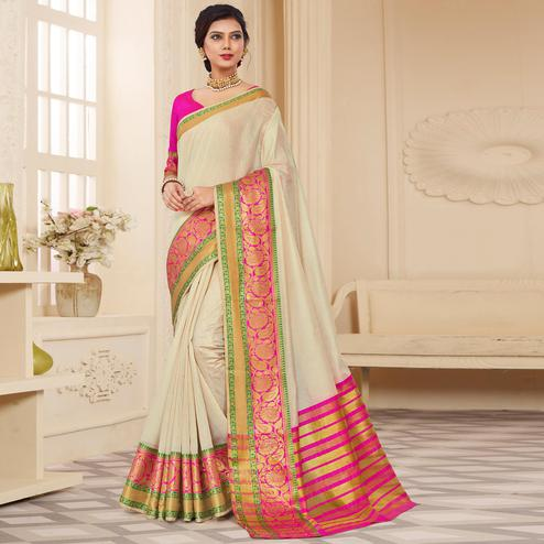 Beautiful Off-White Colored Festive Wear Woven Cotton Silk Saree