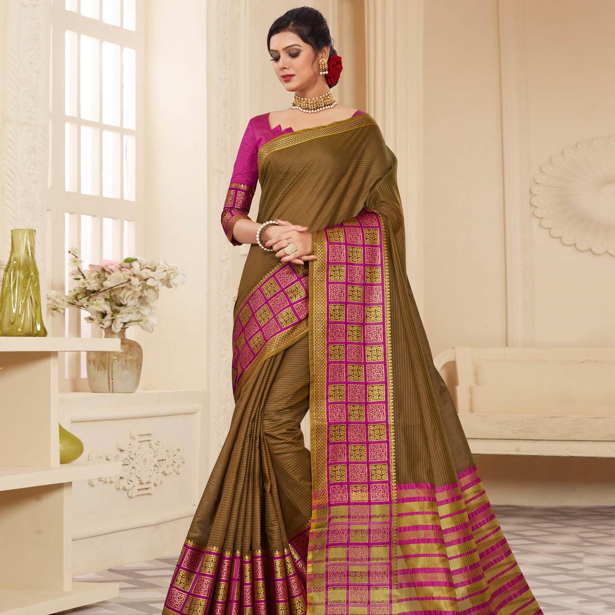Exceptional Olive Green Colored Festive Wear Woven Cotton Silk Saree