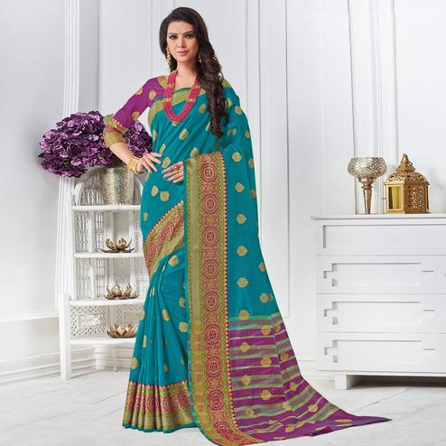 Adorning Blue Colored Festive Wear Woven Cotton Silk Saree