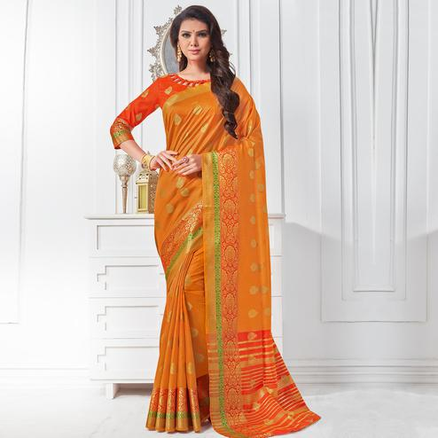 Traditional Orange Colored Festive Wear Woven Cotton Silk Saree