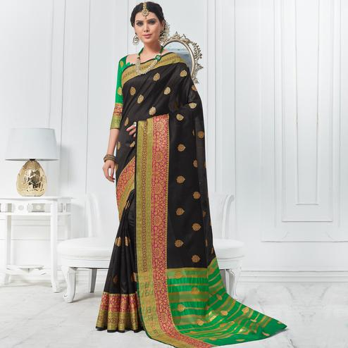 Stunning Black Colored Festive Wear Woven Cotton Silk Saree