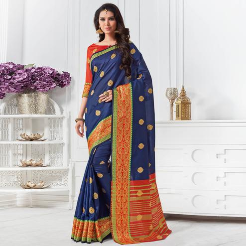 Demanding Navy Blue Colored Festive Wear Woven Cotton Silk Saree