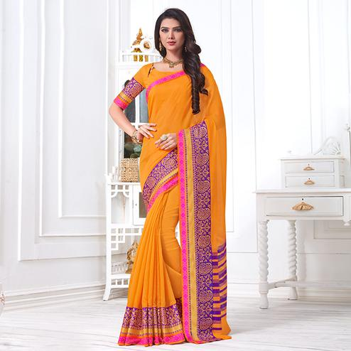 Glowing Orange Colored Festive Wear Woven Cotton Silk Saree