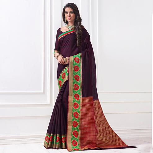 Exceptional Dark Purple Colored Festive Wear Woven Cotton Silk Saree