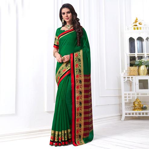 Refreshing Green Colored Festive Wear Woven Cotton Silk Saree