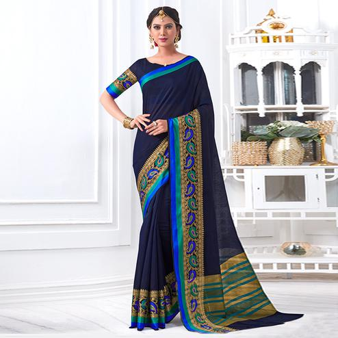 Stunning Navy Blue Colored Festive Wear Woven Cotton Silk Saree