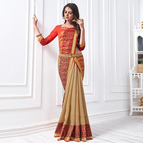 Irresistible Beige Colored Festive Wear Woven Cotton Silk Saree