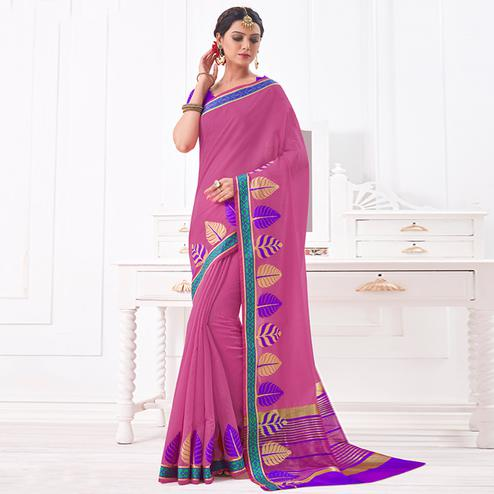 Beautiful Light Purple Colored Festive Wear Woven Cotton Silk Saree