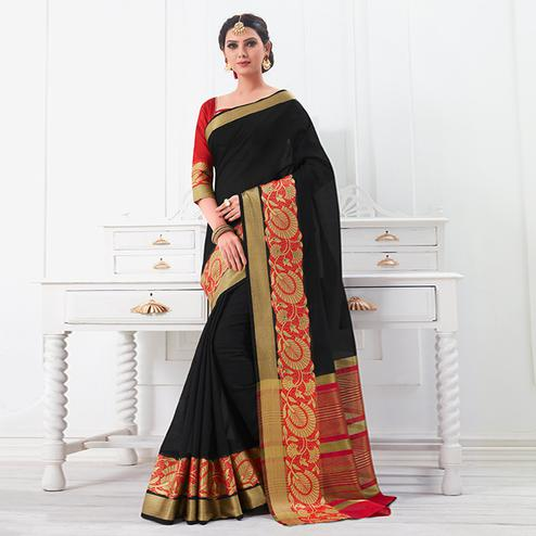 Mesmeric Black Colored Festive Wear Woven Cotton Silk Saree