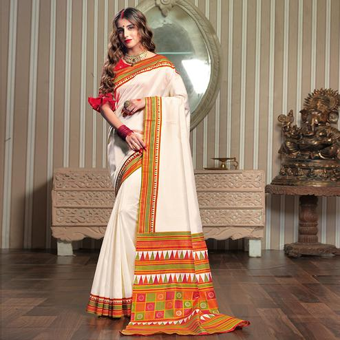 Delightful White Colored Festive Wear Patola Silk saree