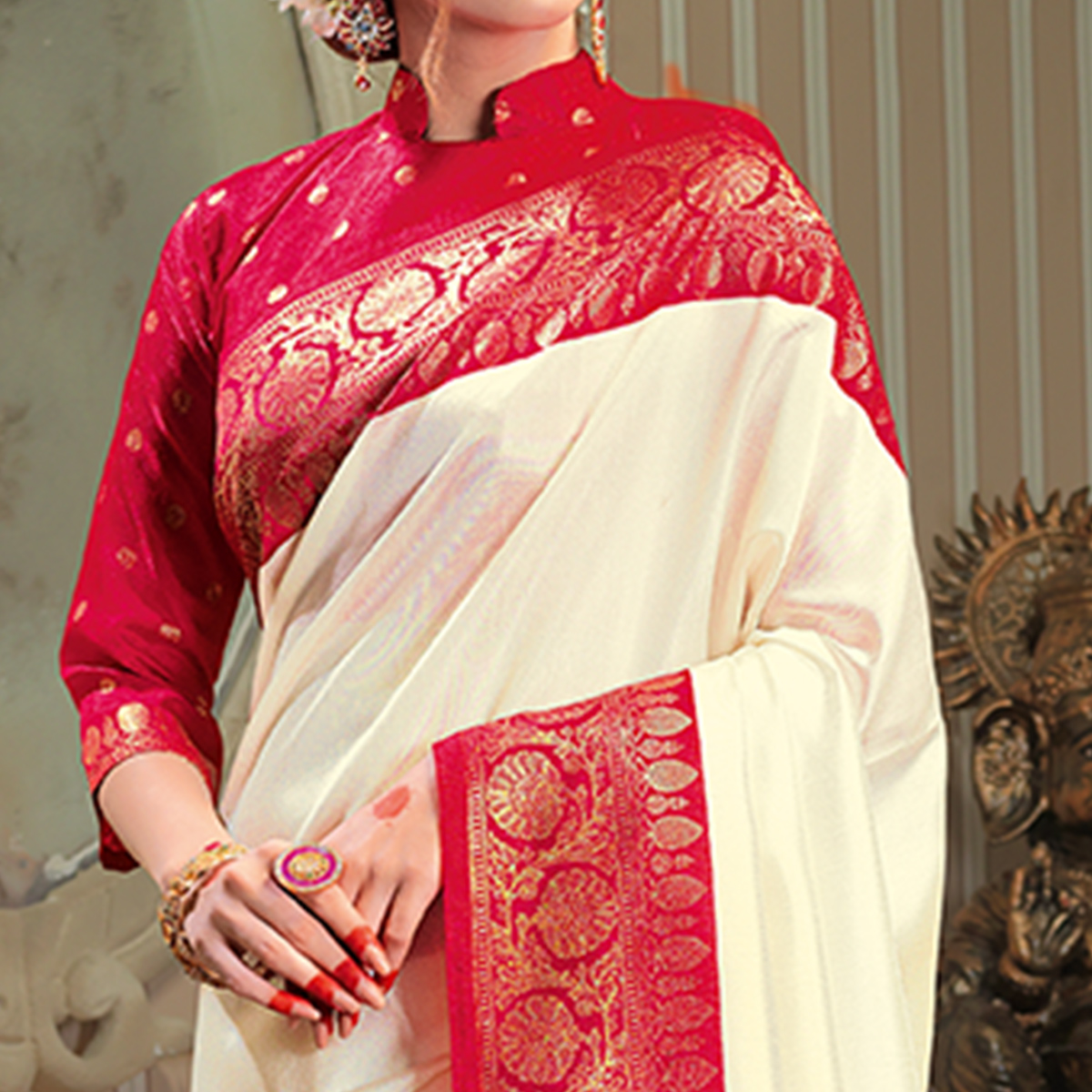 Stunning Cream Colored Festive Wear Patola Silk saree