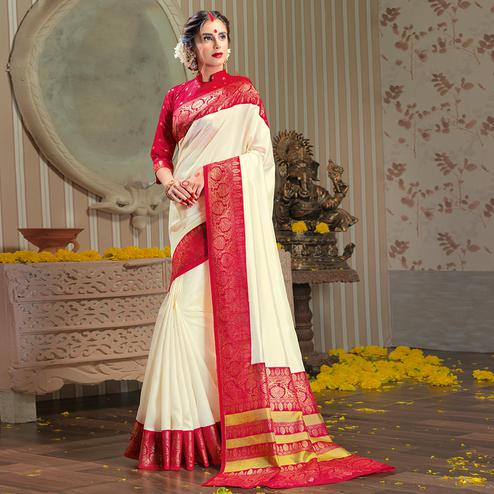 Stunning White Colored Festive Wear Patola Silk saree