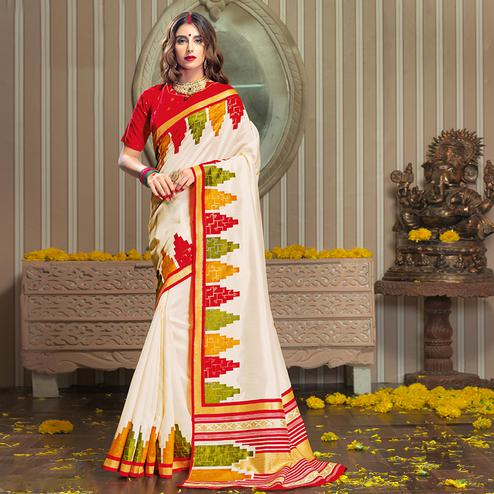Blooming Cream Colored Festive Wear Patola Silk saree
