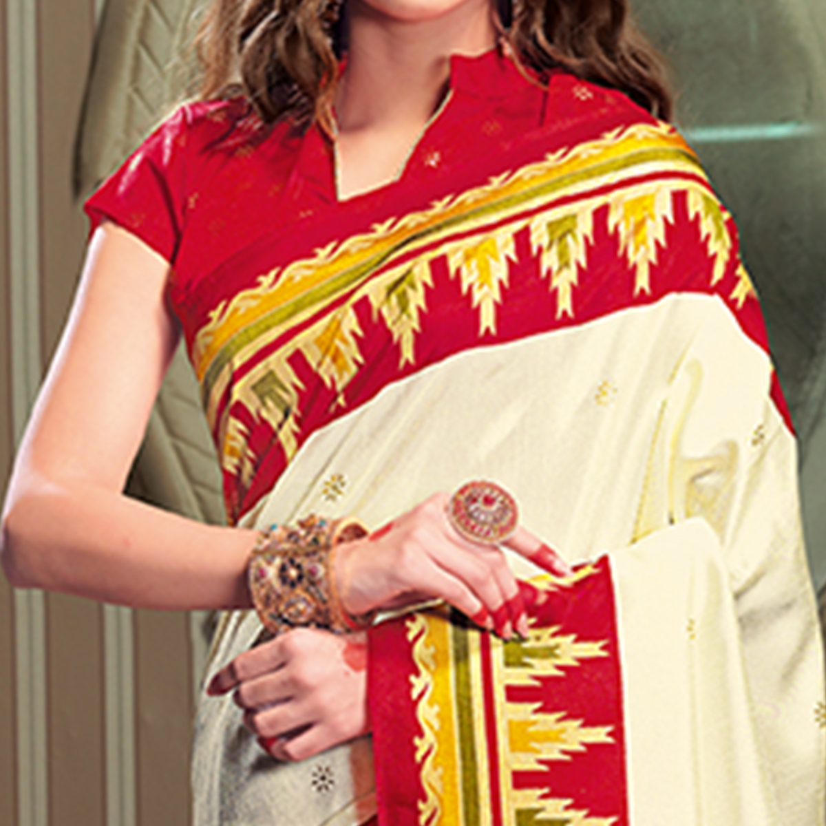 Marvellous Cream Colored Festive Wear Patola Silk saree