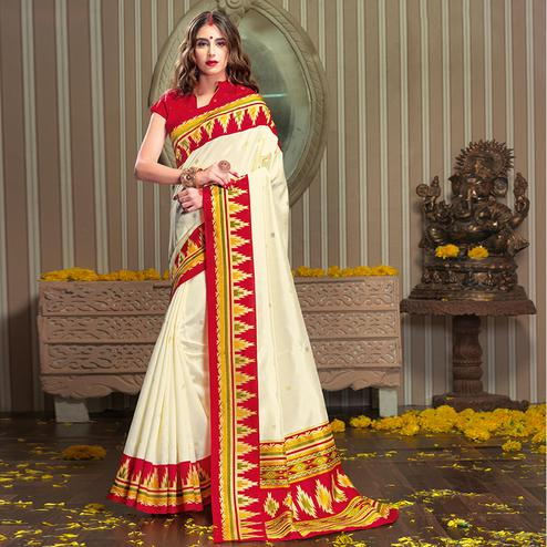Marvellous White Colored Festive Wear Patola Silk saree