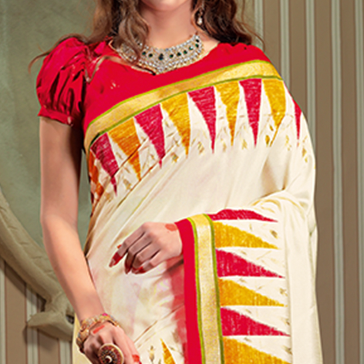Ravishing White Colored Festive Wear Patola Silk saree