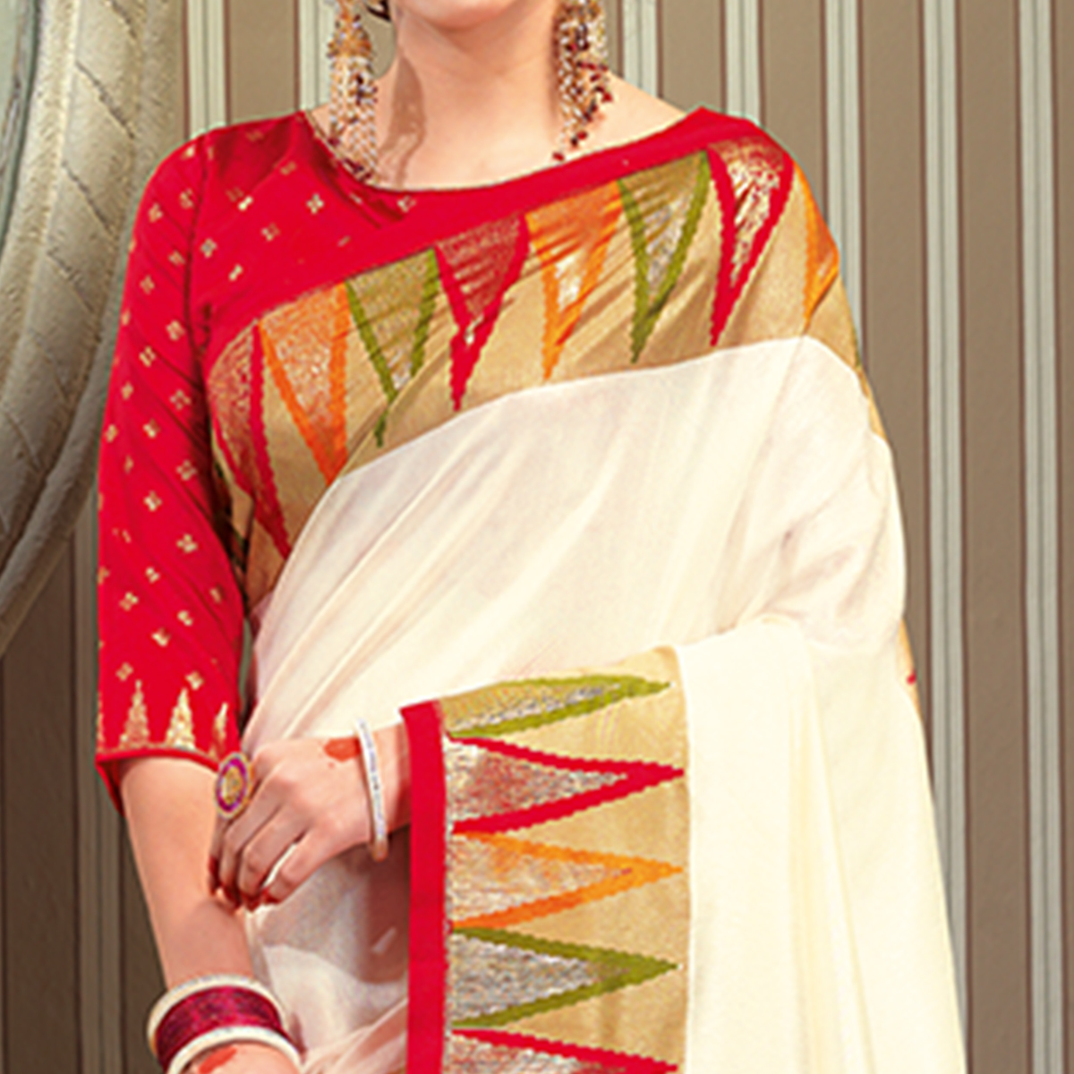 Eye-catching Cream Colored Festive Wear Patola Silk saree