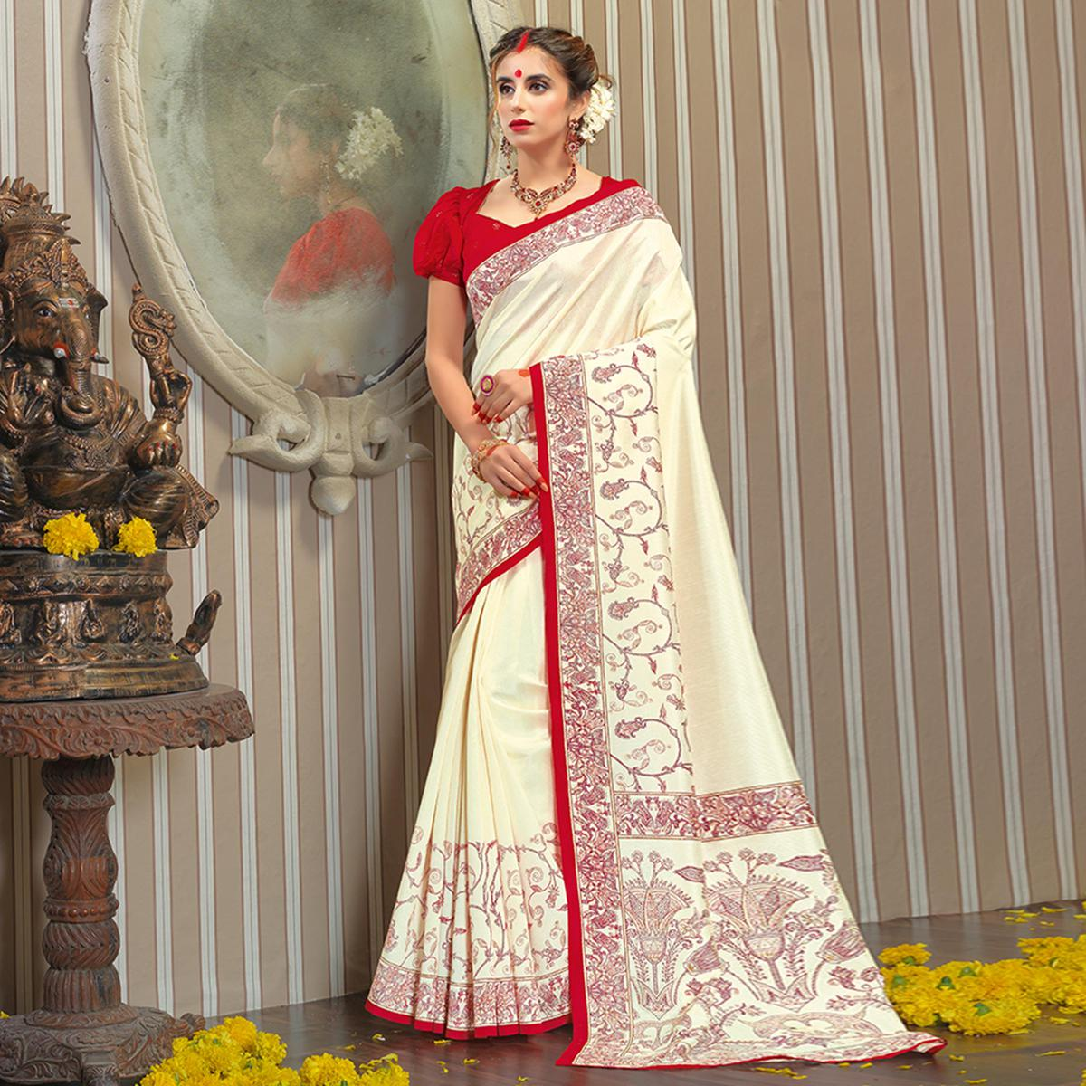 Amazing White Colored Festive Wear Patola Silk saree