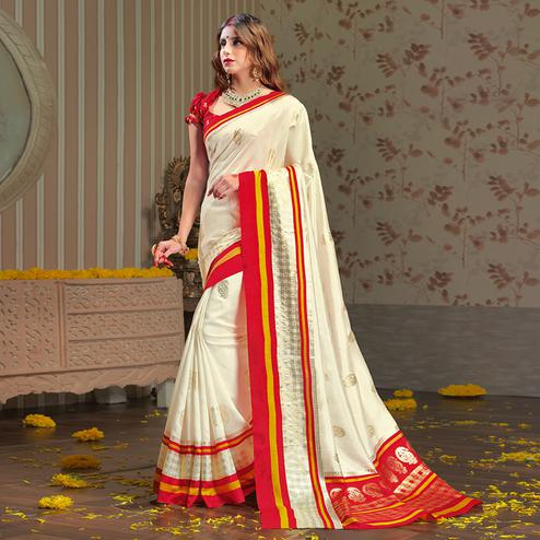 Exotic White Colored Festive Wear Patola Silk saree