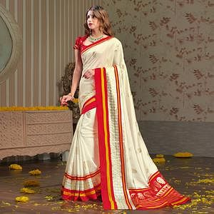 Exotic Cream Colored Festive Wear Patola Silk saree