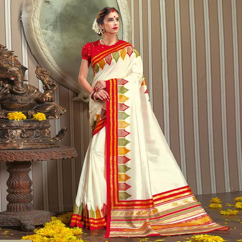 Preferable White Colored Festive Wear Patola Silk saree