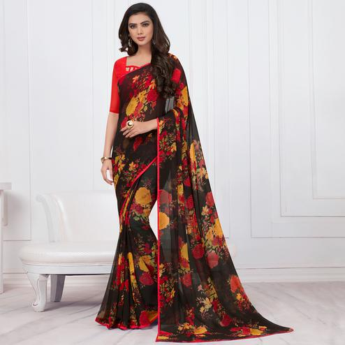 Stylish Black Colored Casual Printed Chiffon Saree