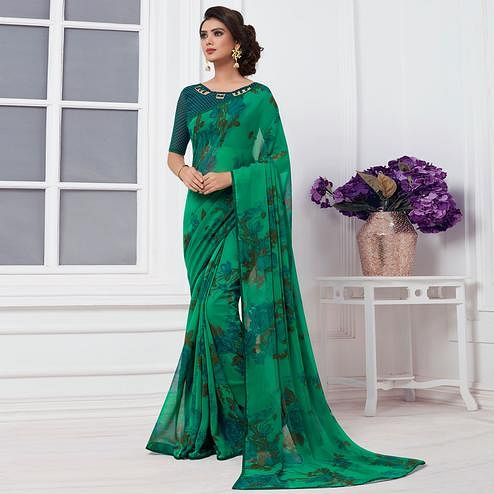 Classy Green Colored Casual Printed Chiffon Saree