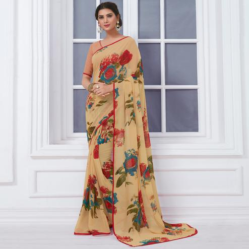 Appealing Beige Colored Casual Printed Chiffon Saree