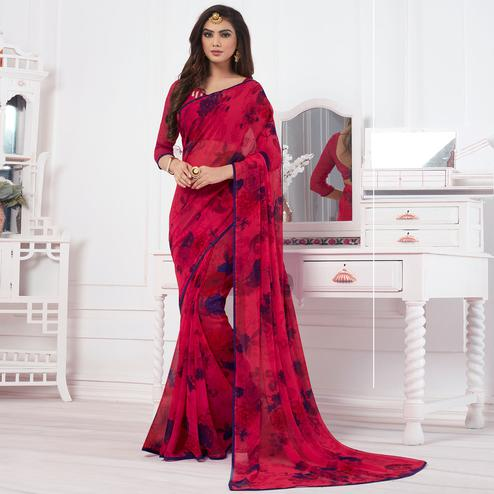 Excellent Pink Colored Casual Printed Chiffon Saree