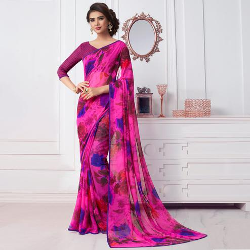 Charming Pink Colored Casual Printed Chiffon Saree
