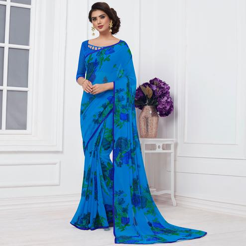 Lovely Blue Colored Casual Printed Chiffon Saree