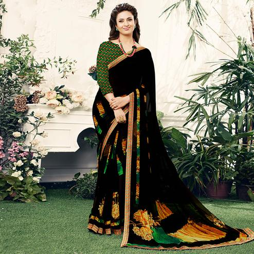 Magnetic Black Colored Casual Printed Georgette Saree