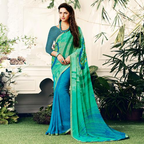 Refreshing Blue-Turquoise Green Colored Casual Printed Georgette Half-Half Saree