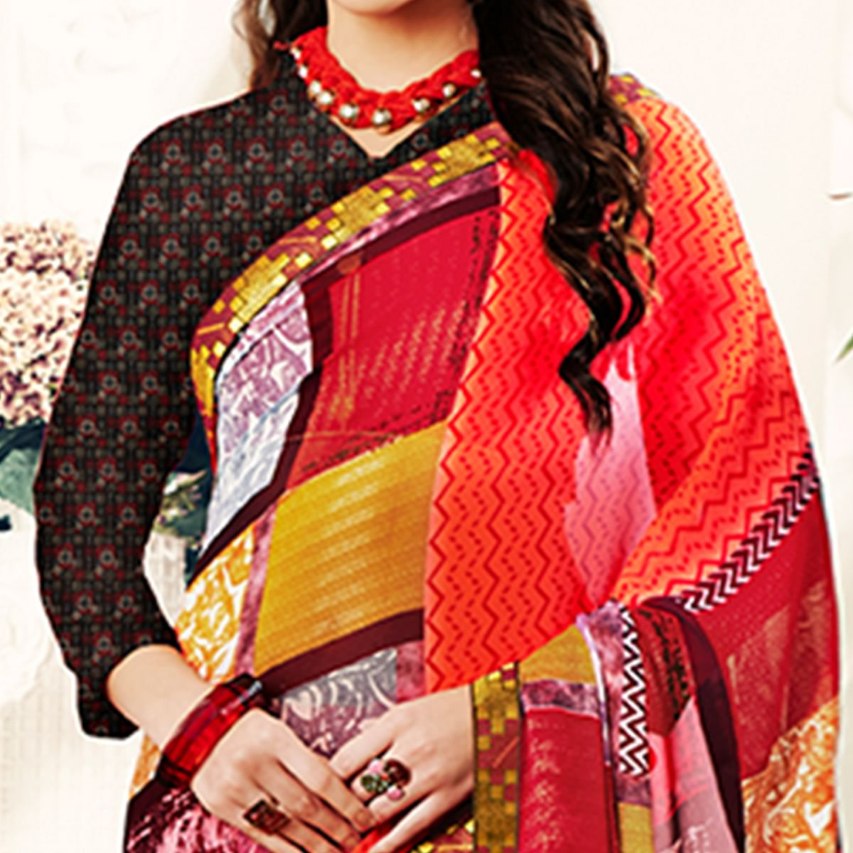 Gleaming Red Colored Casual Printed Georgette Saree
