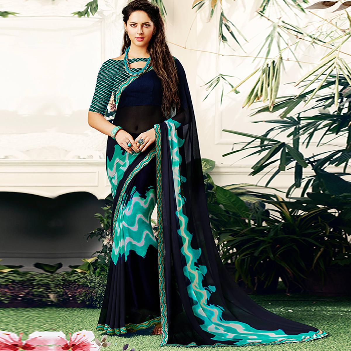 Appealing Navy Blue Colored Casual Printed Georgette Saree