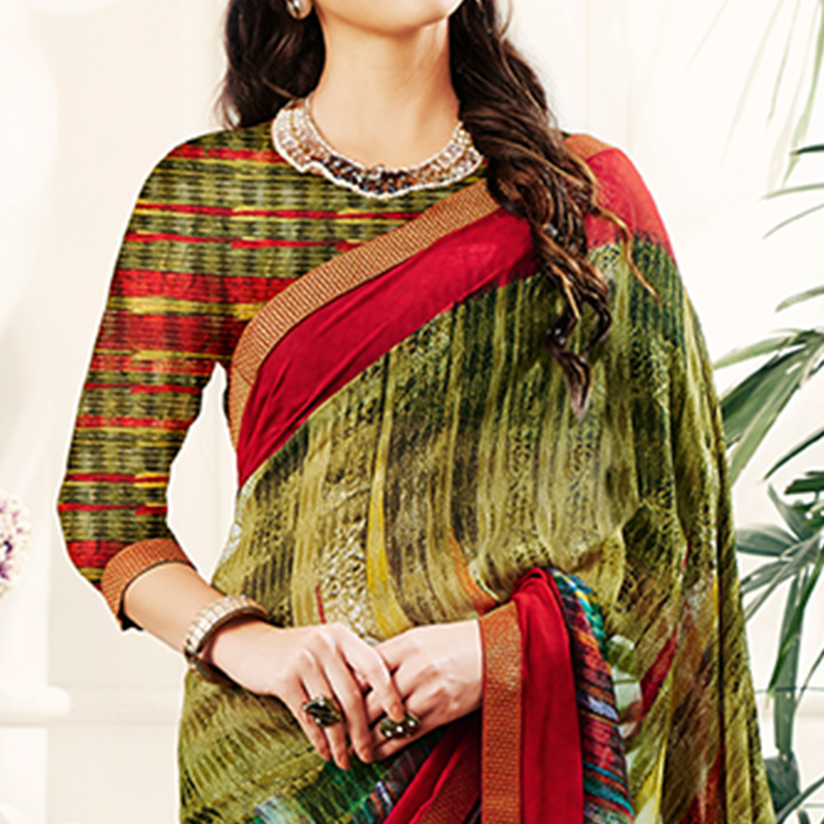 Irresistible Multi Colored Casual Printed Georgette Saree