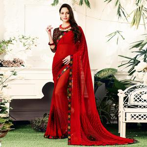 Energetic Red Colored Casual Printed Georgette Saree