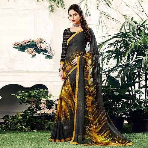 Adorning Blackish Gray Colored Casual Printed Georgette Saree