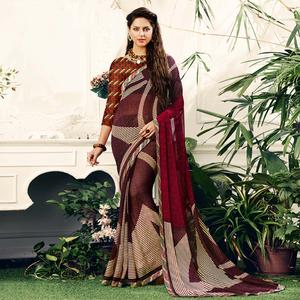 Trendy Maroon Colored Casual Printed Georgette Saree