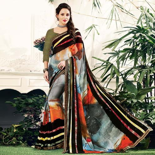 Favorite Multi Colored Casual Printed Georgette Saree