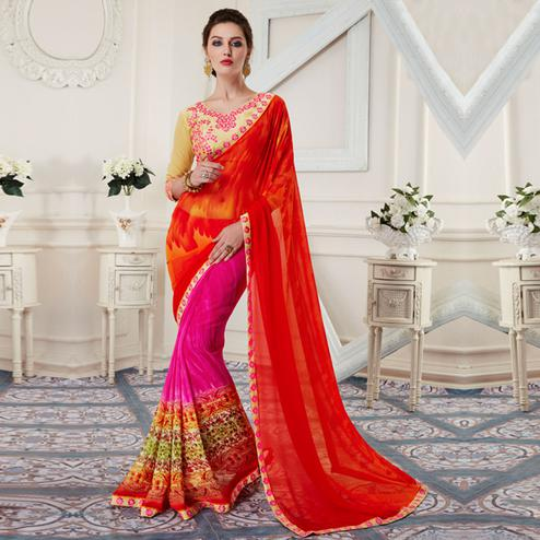 Stunning Red-Pink Colored Printed Georgette Half-Half Saree