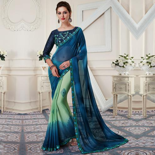 Attractive Blue-Aqua Green Colored Printed Georgette Half-Half Saree
