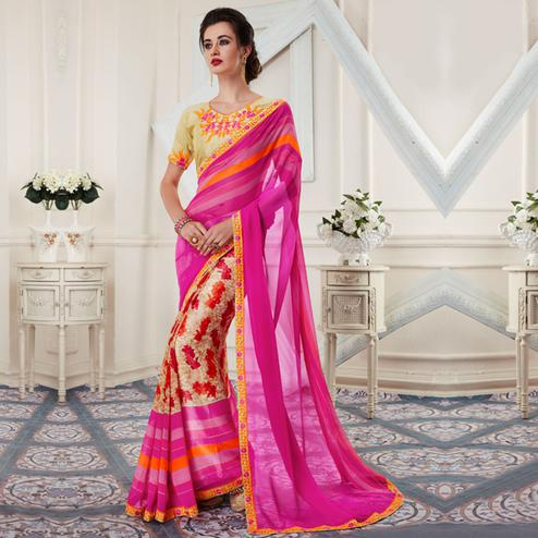Charming Pink Colored Printed Georgette Half-Half Saree