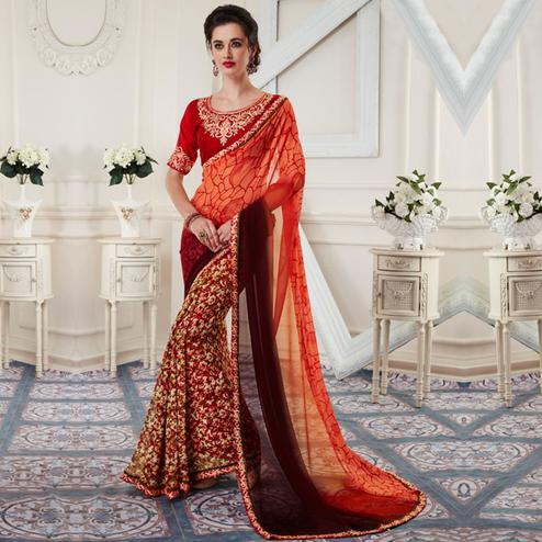 Magnetic Multi Colored Printed Georgette Half-Half Saree