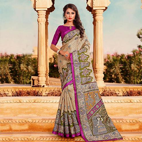 Beige-Pink Traditional Printed Bhagalpuri Silk Saree