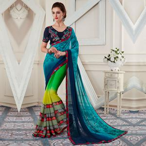 Blooming Multi Colored Printed Georgette Half-Half Saree