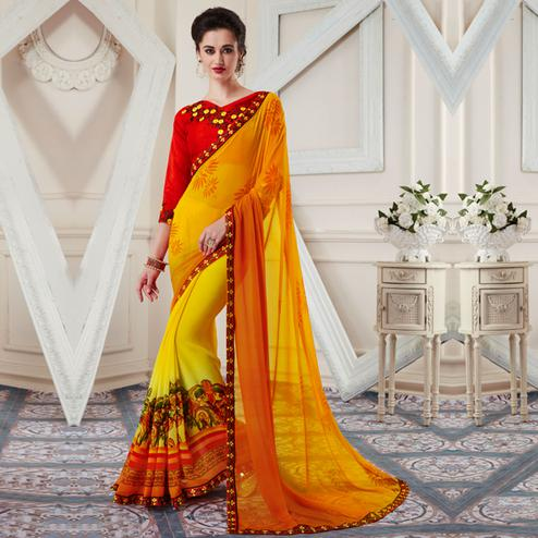 Demanding Yellow Colored Printed Georgette Half-Half Saree