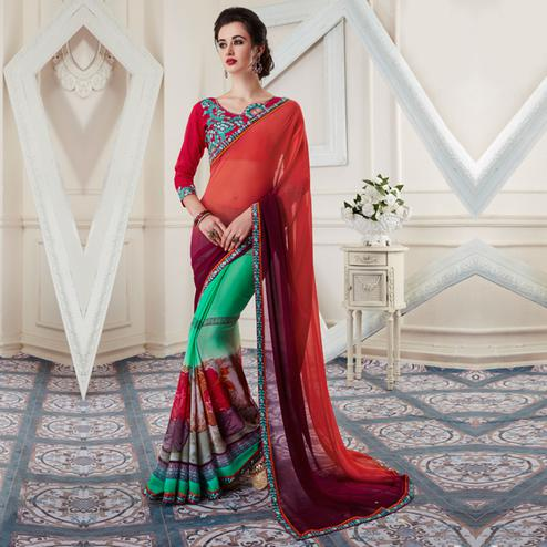 Desiring Multi Colored Printed Georgette Half-Half Saree